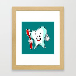 Dental Care happy Tooth with Toothbush Framed Art Print