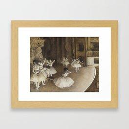 Ballet Rehearsal on Stage by Edgar Degas Framed Art Print