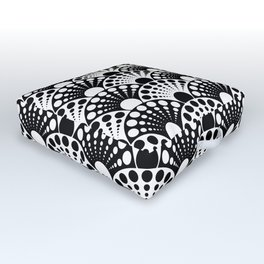 black and white art deco inspired fan pattern Outdoor Floor Cushion