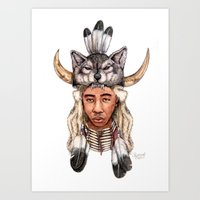 tyler the creator Art Prints featuring WOLF / Tyler, The Creator by Daniel Cash