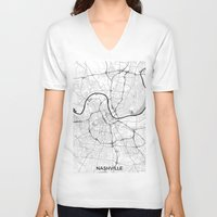 nashville V-neck T-shirts featuring Nashville Map Gray by City Art Posters