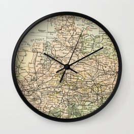 Old and Vintage Map of Germany Outline Wall Clock