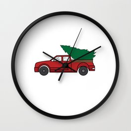 "Funny and cute ""Santa's Jeep Christmas Tree"" Makes a nice and awesome gift for everyone this holiday Wall Clock"