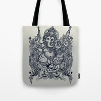 ganesh Tote Bags featuring Ganesh by MR. VELA