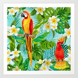 Tropical Parrot Chillin Art Print