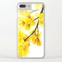 yellow trumpet trees watercolor yellow roble flowers yellow Tabebuia Clear iPhone Case