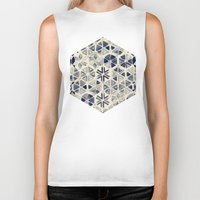 bedding Biker Tanks featuring Hand Painted Triangle & Honeycomb Ink Pattern - indigo & cream by micklyn