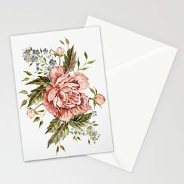 Pink Wild Rose Bouquet Stationery Cards