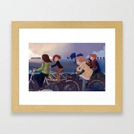 Riding to school Framed Art Print
