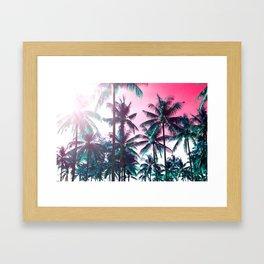 Retro Tropic Palms Framed Art Print