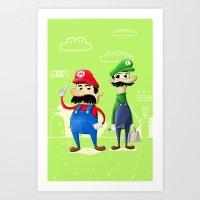 luigi Art Prints featuring Mario & Luigi by Jorge De la Paz