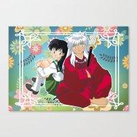 inuyasha Canvas Prints featuring Inuyasha & Kagome by Neo Crystal Tokyo