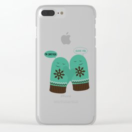 Christmas I'm Smitten Glove You Clear iPhone Case