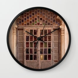 Wooden stained glass door at Jodhpur Fort, India Wall Clock