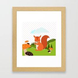 Squirrel and Rainbow , nursery decor Framed Art Print