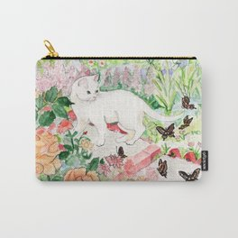 White Cat in a Garden Carry-All Pouch