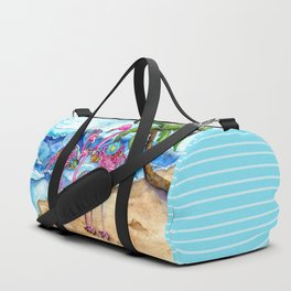 The Flamingo Family's Day at the Beach Duffle Bag
