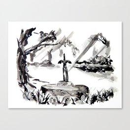 The Master Sword Sumi-e Canvas Print
