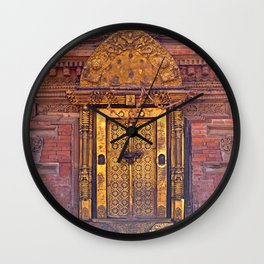 Gold door on the Pattan Durbar Square in Kathmandu, Nepal Wall Clock