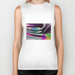 Lines and spots of color abstract digital painting Biker Tank