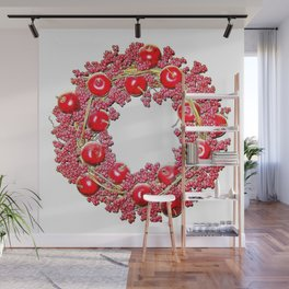 Bright Red Cherry Apple Wreath Wall Mural