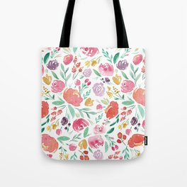 Peony Roses and Floral blooms Tote Bag