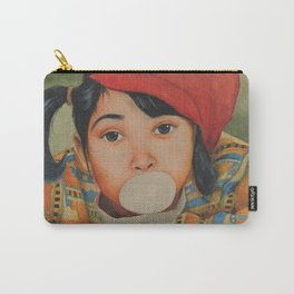 Naughty girl blowing and playing with Bubble Gum - in Watercolor Carry-All Pouch