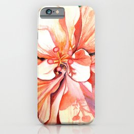Double Peach Tropical Hibiscus iPhone Case