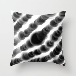 Ghostly Glowing Round Abstract - Black and White Throw Pillow