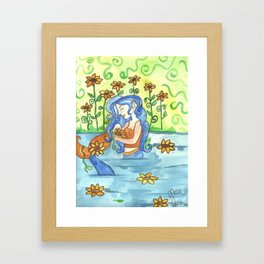 Sunflower Mermaid Framed Art Print
