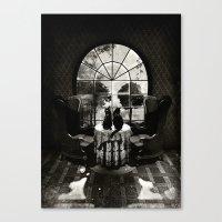 skull Canvas Prints featuring Room Skull B&W by Ali GULEC