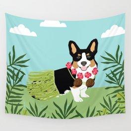 Tri Corgi Hula Dog Summer Tropical Palm Print Palm Tree Dog Wall Tapestry