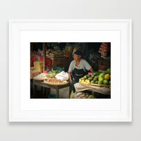 indonesia Framed Art Prints featuring Vegetable Stand. Java, Indonesia. by Hereness & Thereness