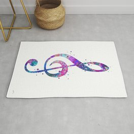 Treble Clef Sign Watercolor Print Blue Purple Wall Art Poster Music Poster Rug