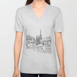 Notre Dame and Eiffel Tower travel scene Unisex V-Neck