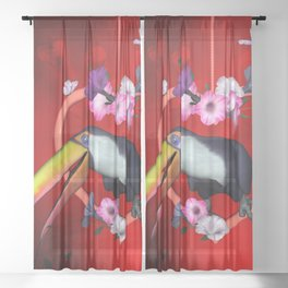 Funny toucan on a heart with flowers Sheer Curtain