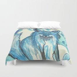 Fox in blue Duvet Cover