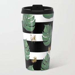 Tropical leaves pattern on stripes background Travel Mug