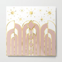 Art Deco Geometric Architectural Shapes and Stars in Blush Pink and Yellow Gold Metal Print