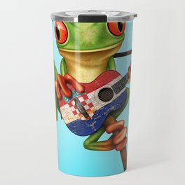 Tree Frog Playing Acoustic Guitar with Flag of Croatia Travel Mug