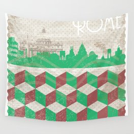 Rome Vintage Stamp Wall Tapestry