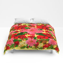 DECORATIVE  RED & PINK POINSETTIAS CHRISTMAS GREEN ART Comforters