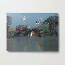 Lincoln/Wrightwood in the Rain Metal Print