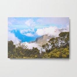 Misty Kalalau Lookout Na Pali Coast Kauai Hawaii | Nature Landscape Travel Photography | Wall Art Decor Metal Print