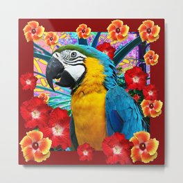 DecorativeTropical Blue Macaw  Hibiscus Flowers Metal Print