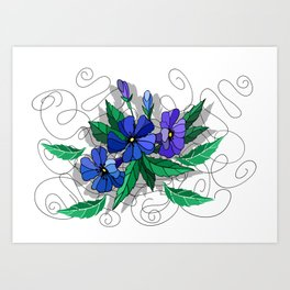 Beautiful abstract flowers in blue colors Art Print