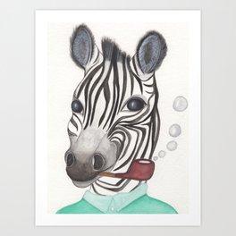 Spencer the Zebra, blowing bubbles Art Print