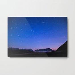 Stars Mountains Under Blue Sky 5k Wallpaper Metal Print
