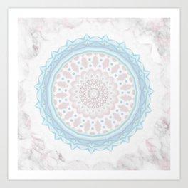 Pastel BabyBlue Pink Marble Manadala Art Print