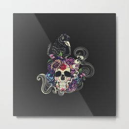 Colorful floral sugar skull with flowers and black raven Metal Print